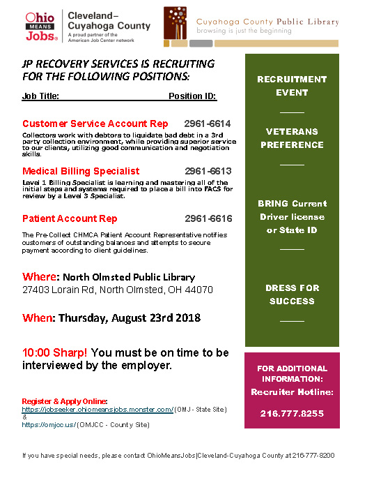 jp recovery services recruting